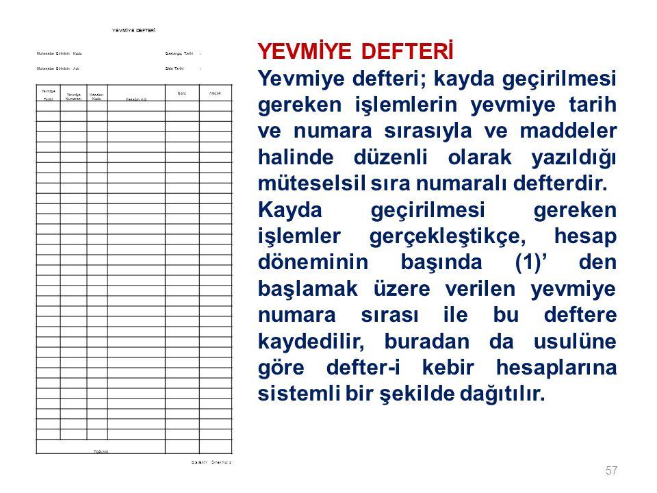 57 YEVMİYE DEFTERİ Yevmiye defteri; kayda geçirilmesi gereken işlemlerin yevmiye tarih ve numara sırasıyla ve maddeler halinde düzenli olarak yazıldığı müteselsil sıra numaralı defterdir.