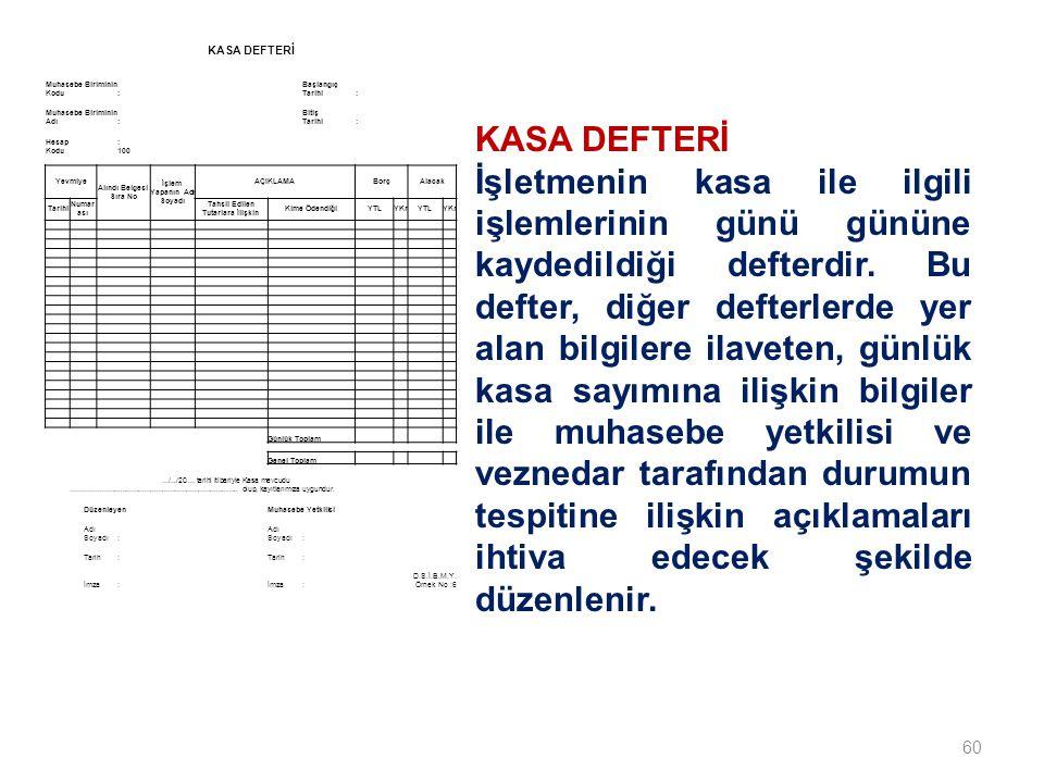 60 KASA DEFTERİ İşletmenin kasa ile ilgili işlemlerinin günü gününe kaydedildiği defterdir.