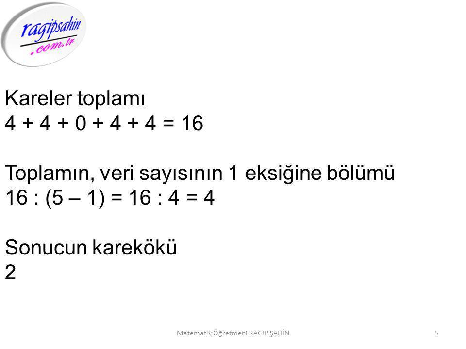5Matematik Öğretmeni RAGIP ŞAHİN Kareler toplamı 4 + 4 + 0 + 4 + 4 = 16 Toplamın, veri sayısının 1 eksiğine bölümü 16 : (5 – 1) = 16 : 4 = 4 Sonucun karekökü 2