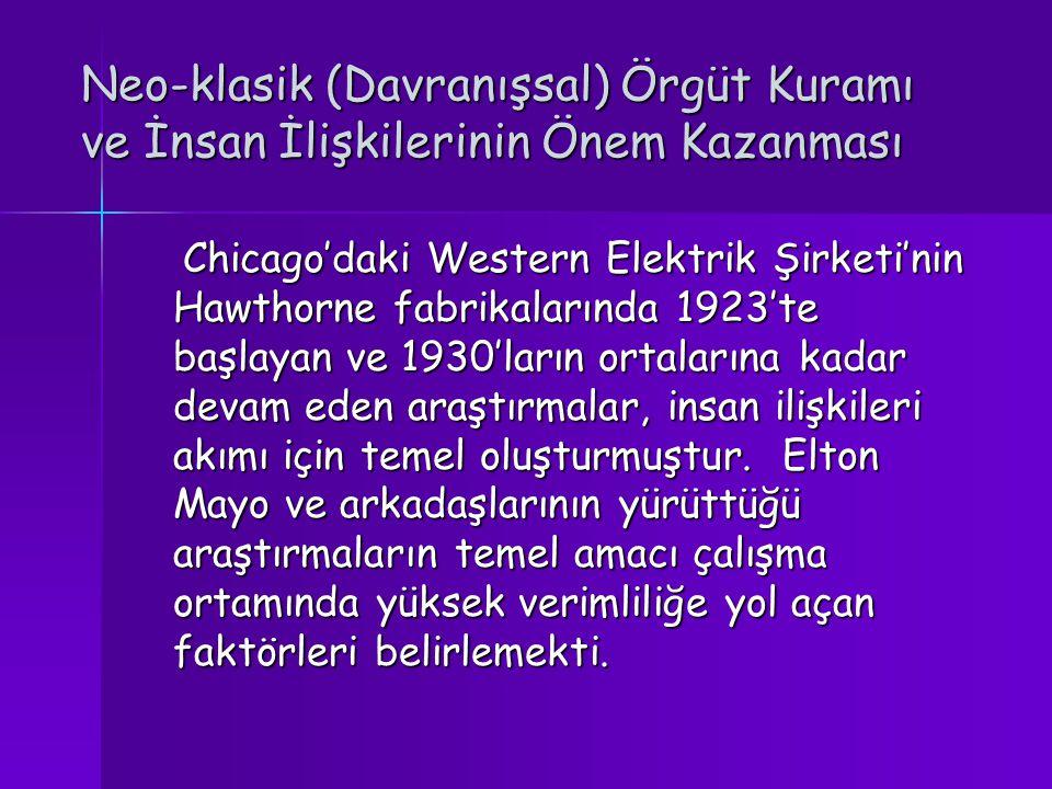 Neo-klasik (Davranışsal) Örgüt Kuramı ve İnsan İlişkilerinin Önem Kazanması Chicago'daki Western Elektrik Şirketi'nin Hawthorne fabrikalarında 1923'te
