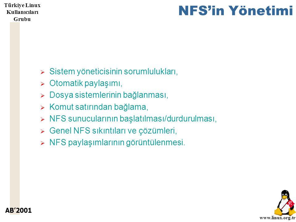 AB'2001 www.linux.org.tr Türkiye Linux Kullanıcıları Grubu NFS'in Yönetimi  Sistem yöneticisinin sorumlulukları,  Otomatik paylaşımı,  Dosya sistemlerinin bağlanması,  Komut satırından bağlama,  NFS sunucularının başlatılması/durdurulması,  Genel NFS sıkıntıları ve çözümleri,  NFS paylaşımlarının görüntülenmesi.