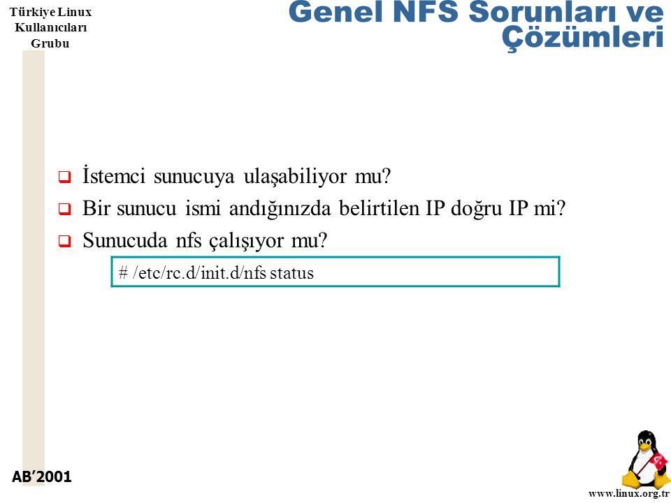 AB'2001 www.linux.org.tr Türkiye Linux Kullanıcıları Grubu Genel NFS Sorunları ve Çözümleri  İstemci sunucuya ulaşabiliyor mu.