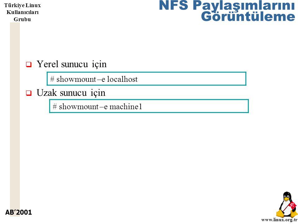AB'2001 www.linux.org.tr Türkiye Linux Kullanıcıları Grubu NFS Paylaşımlarını Görüntüleme  Yerel sunucu için  Uzak sunucu için # showmount –e localhost # showmount –e machine1