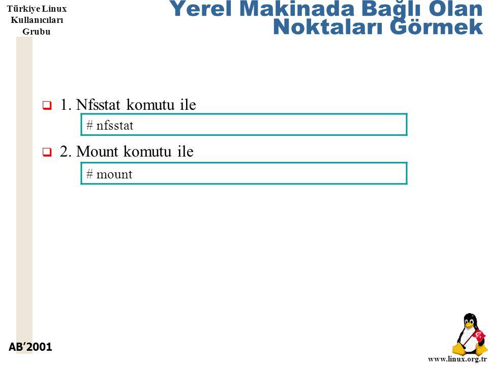 AB'2001 www.linux.org.tr Türkiye Linux Kullanıcıları Grubu Yerel Makinada Bağlı Olan Noktaları Görmek  1.