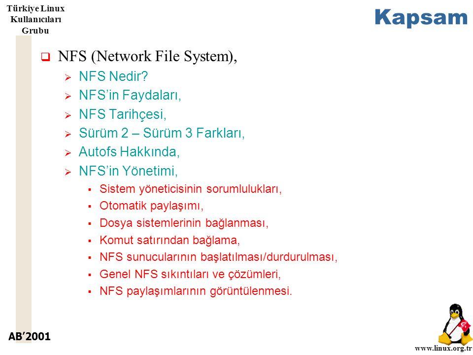 AB'2001 www.linux.org.tr Türkiye Linux Kullanıcıları Grubu Kapsam  NFS (Network File System),  NFS Nedir.