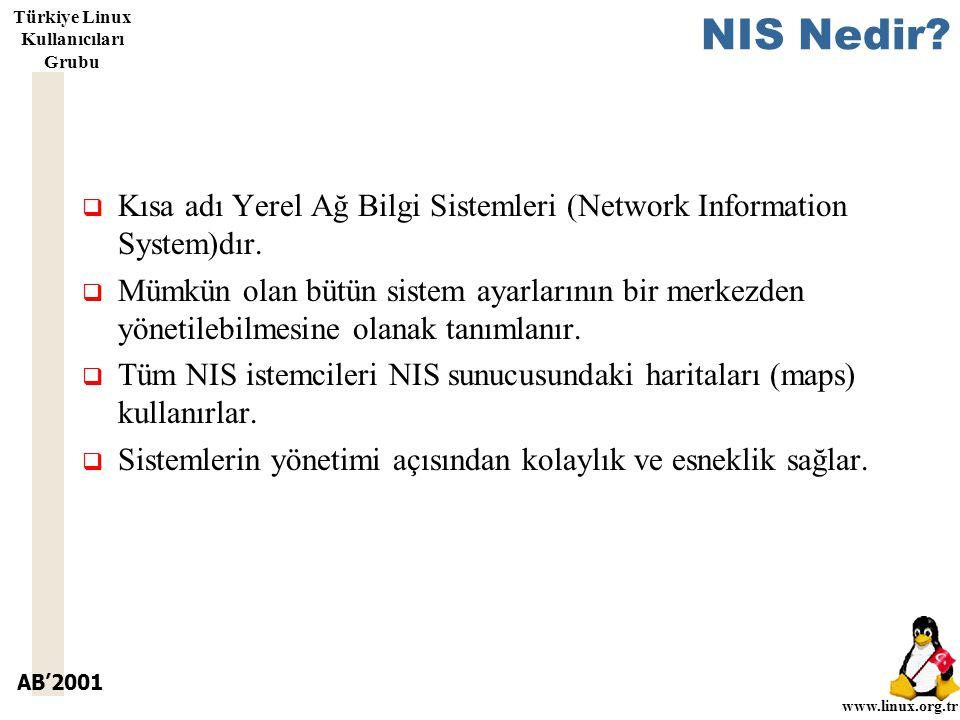 AB'2001 www.linux.org.tr Türkiye Linux Kullanıcıları Grubu NIS Nedir.