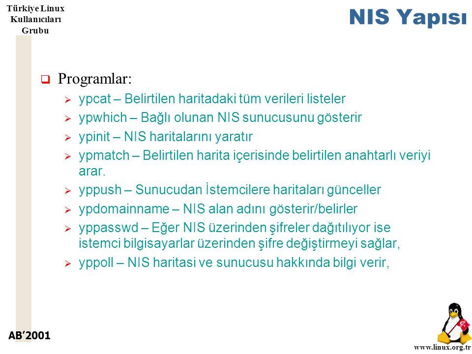AB'2001 www.linux.org.tr Türkiye Linux Kullanıcıları Grubu NIS Yapısı  Programlar:  ypcat – Belirtilen haritadaki tüm verileri listeler  ypwhich – Bağlı olunan NIS sunucusunu gösterir  ypinit – NIS haritalarını yaratır  ypmatch – Belirtilen harita içerisinde belirtilen anahtarlı veriyi arar.