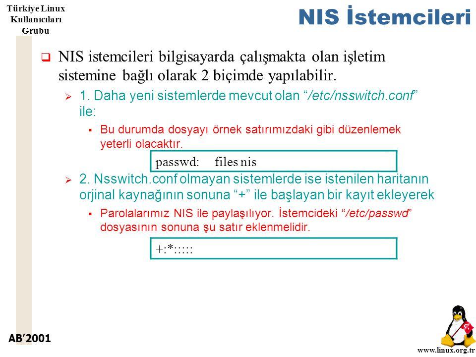 AB'2001 www.linux.org.tr Türkiye Linux Kullanıcıları Grubu NIS İstemcileri  NIS istemcileri bilgisayarda çalışmakta olan işletim sistemine bağlı olarak 2 biçimde yapılabilir.
