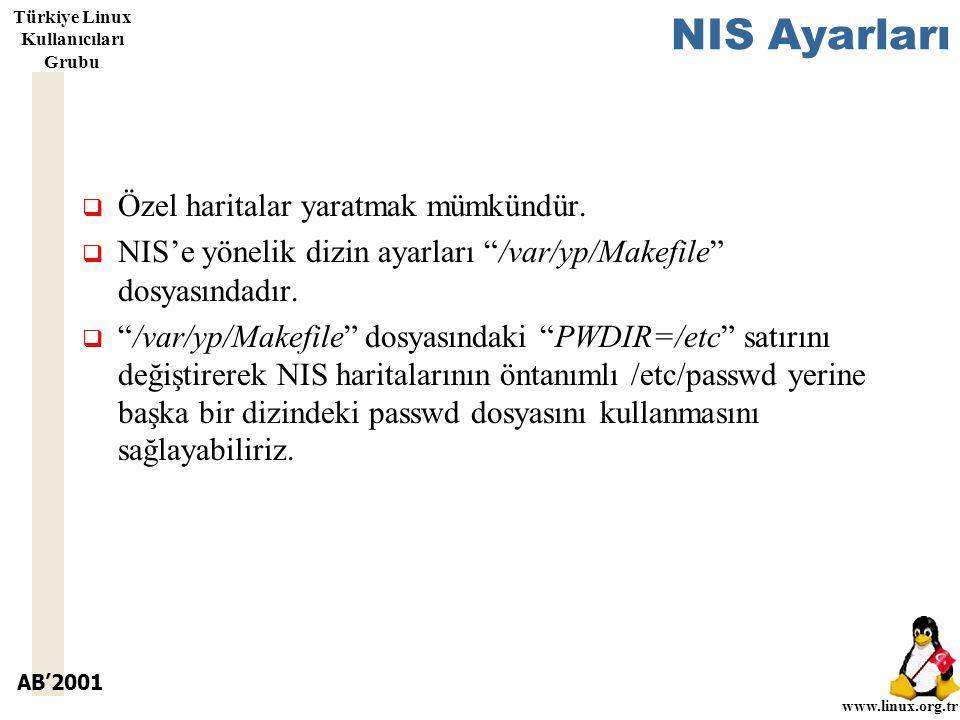 AB'2001 www.linux.org.tr Türkiye Linux Kullanıcıları Grubu NIS Ayarları  Özel haritalar yaratmak mümkündür.