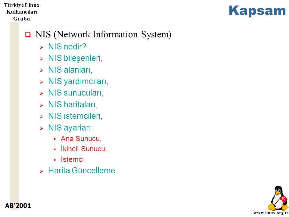 AB'2001 www.linux.org.tr Türkiye Linux Kullanıcıları Grubu Kapsam  NIS (Network Information System)  NIS nedir.