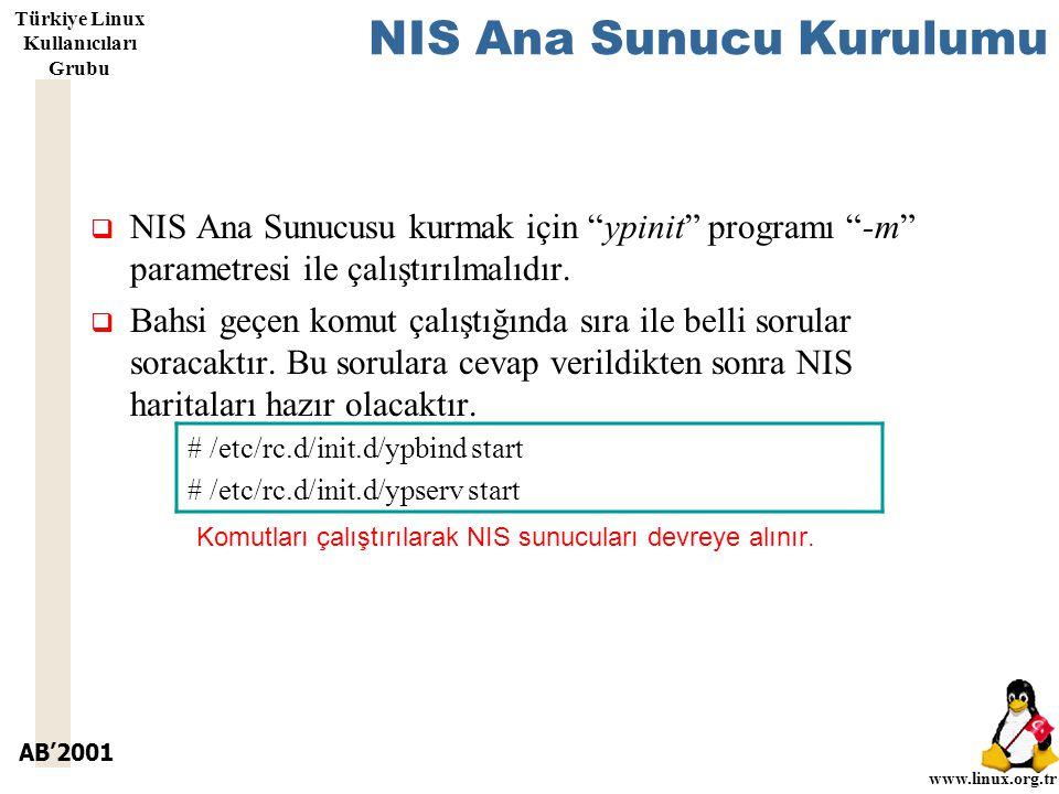 AB'2001 www.linux.org.tr Türkiye Linux Kullanıcıları Grubu NIS Ana Sunucu Kurulumu  NIS Ana Sunucusu kurmak için ypinit programı -m parametresi ile çalıştırılmalıdır.