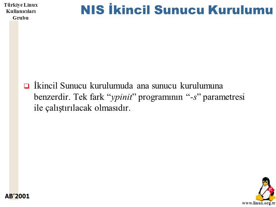 AB'2001 www.linux.org.tr Türkiye Linux Kullanıcıları Grubu NIS İkincil Sunucu Kurulumu  İkincil Sunucu kurulumuda ana sunucu kurulumuna benzerdir.