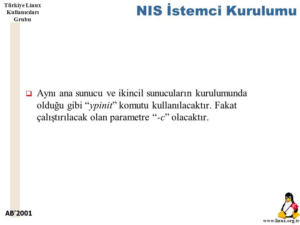 AB'2001 www.linux.org.tr Türkiye Linux Kullanıcıları Grubu NIS İstemci Kurulumu  Aynı ana sunucu ve ikincil sunucuların kurulumunda olduğu gibi ypinit komutu kullanılacaktır.