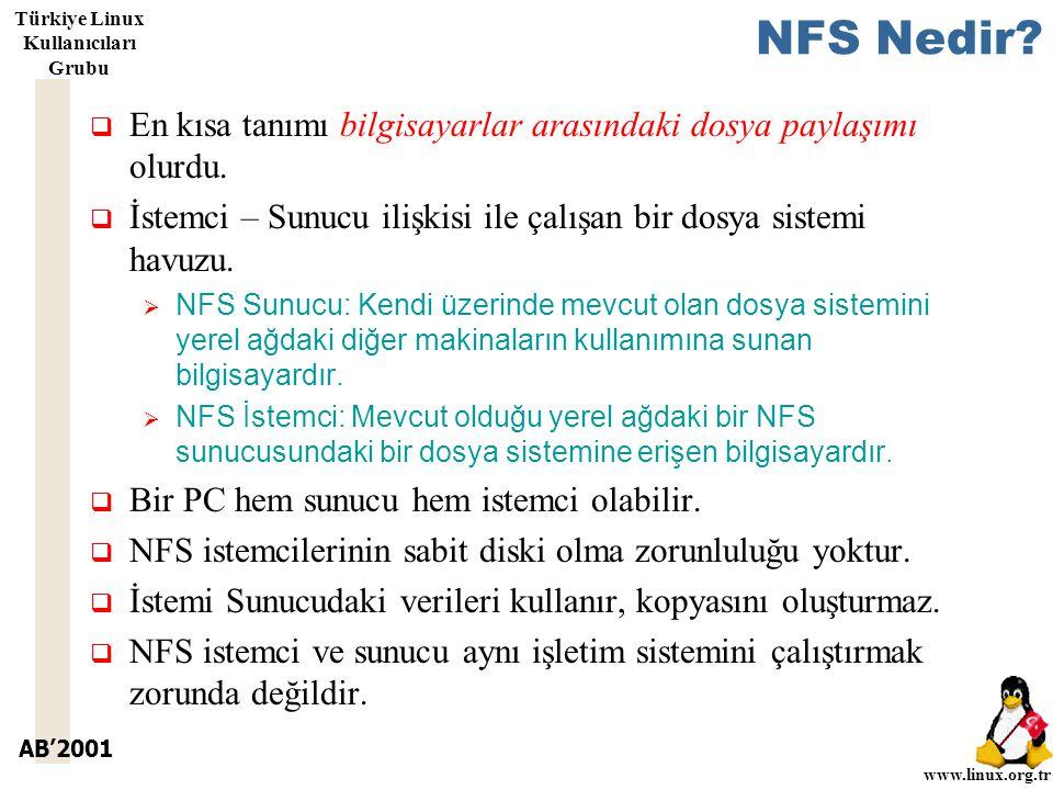 AB'2001 www.linux.org.tr Türkiye Linux Kullanıcıları Grubu NFS Nedir.