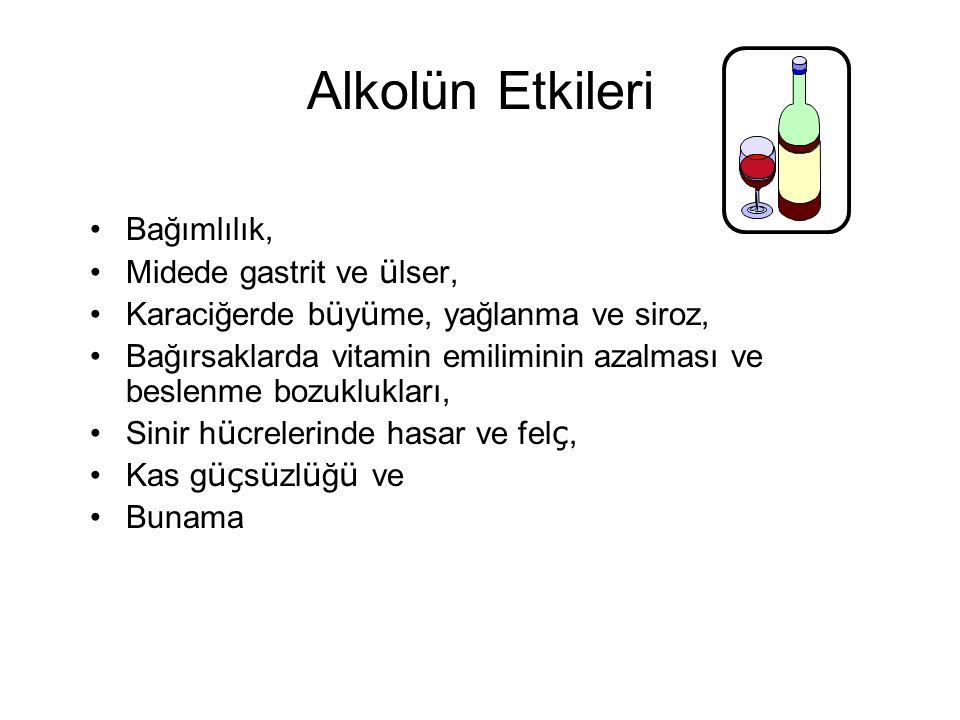 Alkolün Etkileri •Bağımlılık, •Midede gastrit ve ü lser, •Karaciğerde b ü y ü me, yağlanma ve siroz, •Bağırsaklarda vitamin emiliminin azalması ve bes