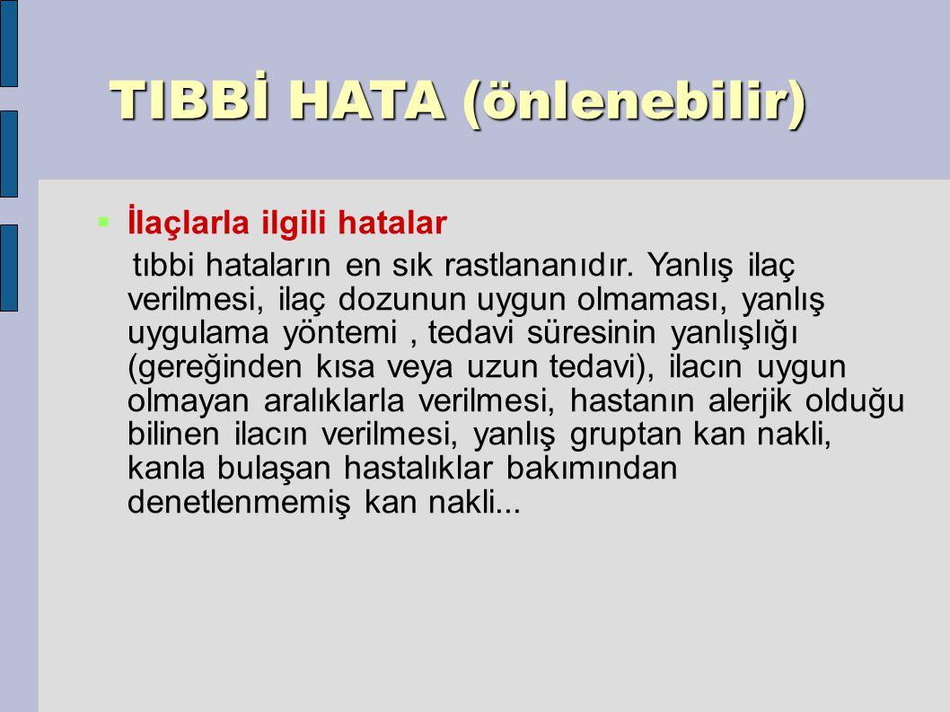 TIBBİ HATA (önlenebilir) TIBBİ HATA (önlenebilir)  İlaçlarla ilgili hatalar tıbbi hataların en sık rastlananıdır.