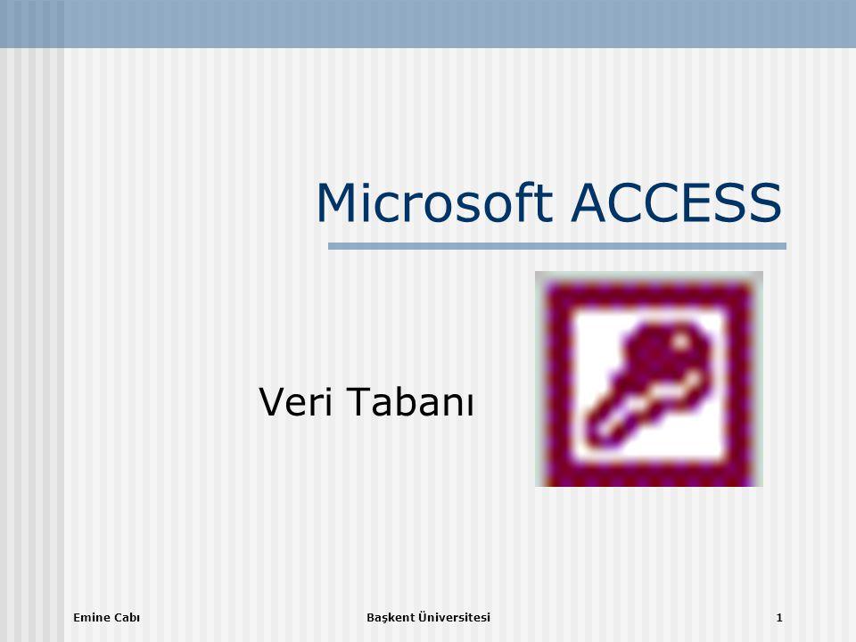 Emine CabıBaşkent Üniversitesi1 Microsoft ACCESS Veri Tabanı