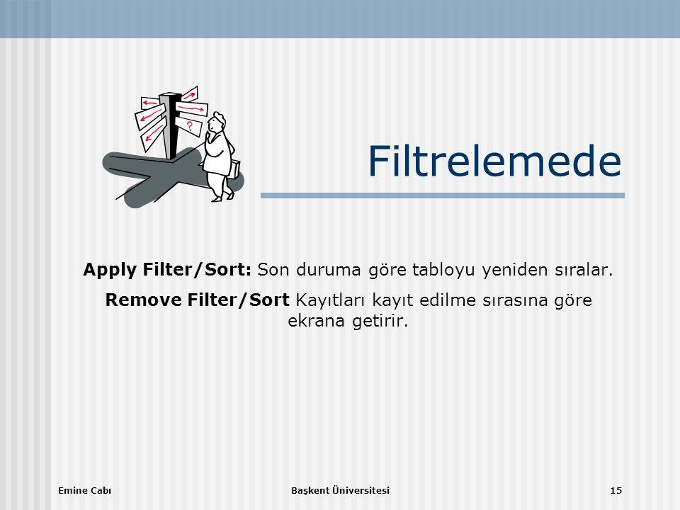 Emine CabıBaşkent Üniversitesi15 Filtrelemede Apply Filter/Sort: Son duruma göre tabloyu yeniden sıralar.