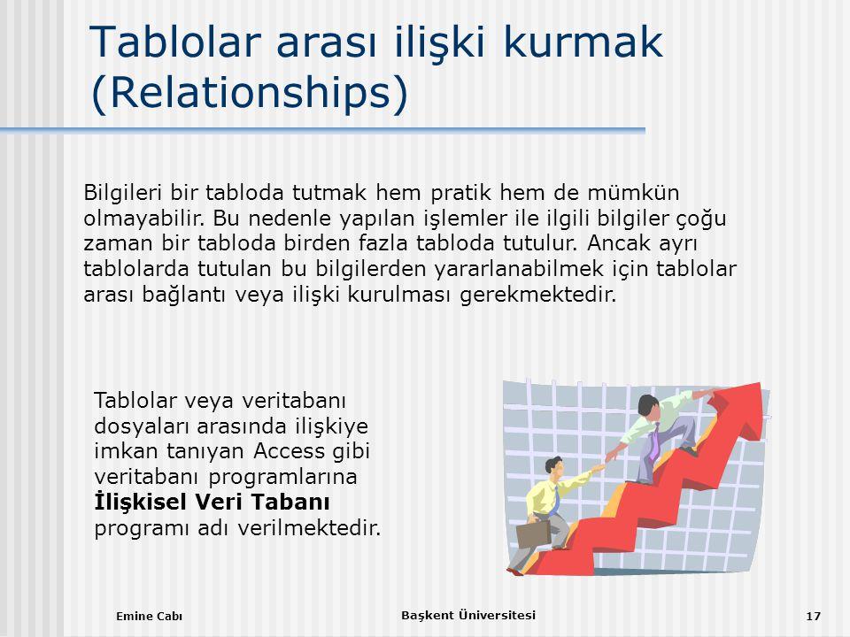 Emine Cabı Başkent Üniversitesi 17 Tablolar arası ilişki kurmak (Relationships) Bilgileri bir tabloda tutmak hem pratik hem de mümkün olmayabilir.