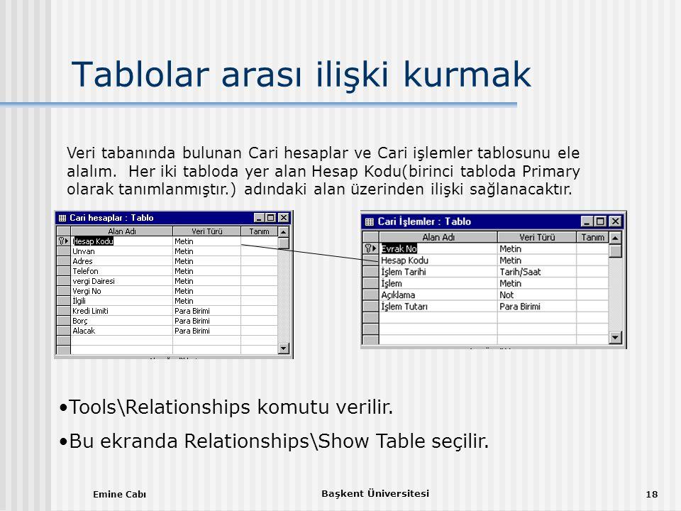 Emine Cabı Başkent Üniversitesi 18 Tablolar arası ilişki kurmak Veri tabanında bulunan Cari hesaplar ve Cari işlemler tablosunu ele alalım.