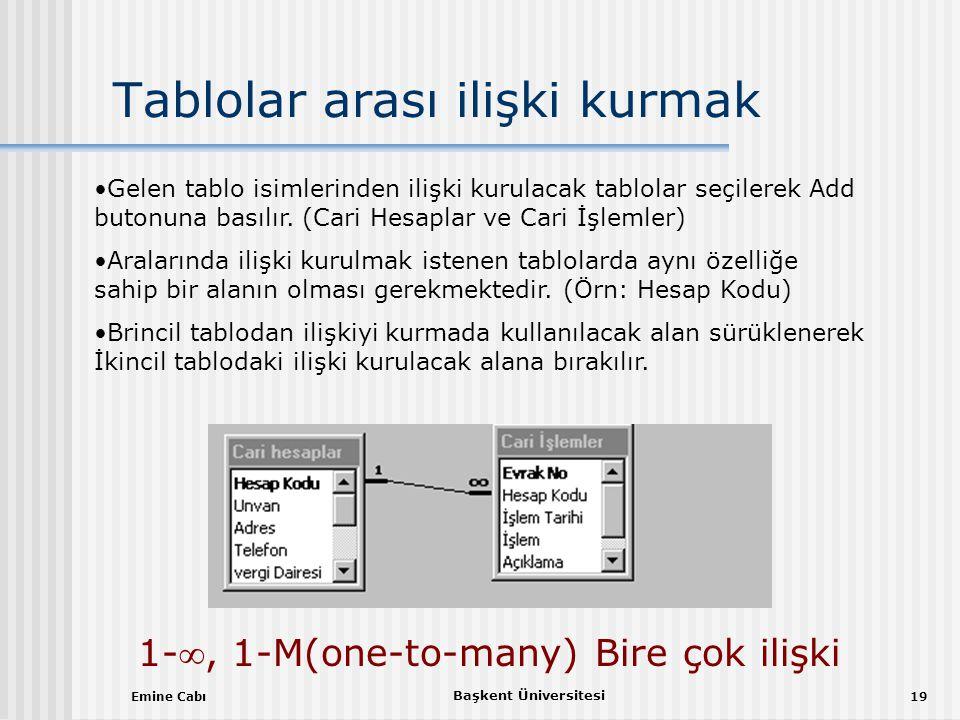 Emine Cabı Başkent Üniversitesi 19 Tablolar arası ilişki kurmak •Gelen tablo isimlerinden ilişki kurulacak tablolar seçilerek Add butonuna basılır.