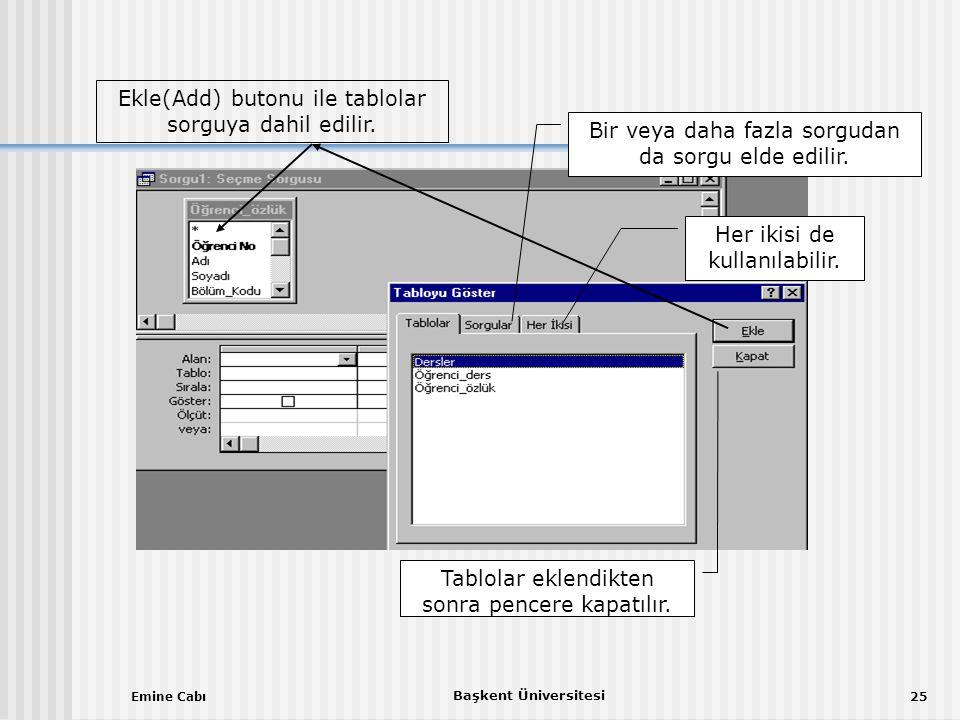Emine Cabı Başkent Üniversitesi 25 Ekle(Add) butonu ile tablolar sorguya dahil edilir.