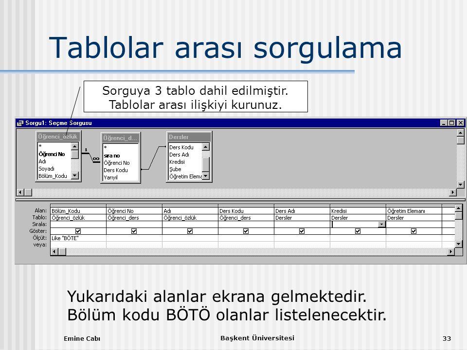 Emine Cabı Başkent Üniversitesi 33 Tablolar arası sorgulama Sorguya 3 tablo dahil edilmiştir.