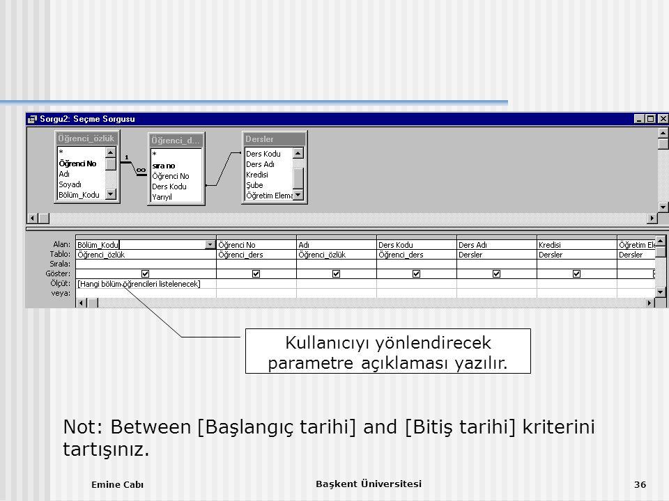 Emine Cabı Başkent Üniversitesi 36 Kullanıcıyı yönlendirecek parametre açıklaması yazılır.
