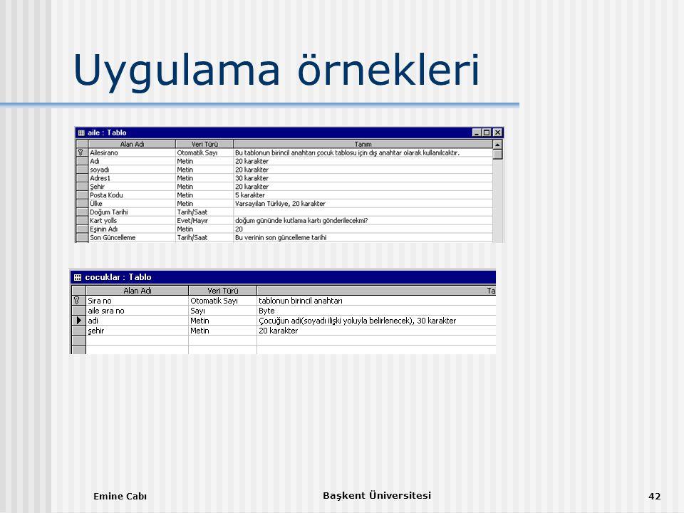 Emine Cabı Başkent Üniversitesi 42 Uygulama örnekleri