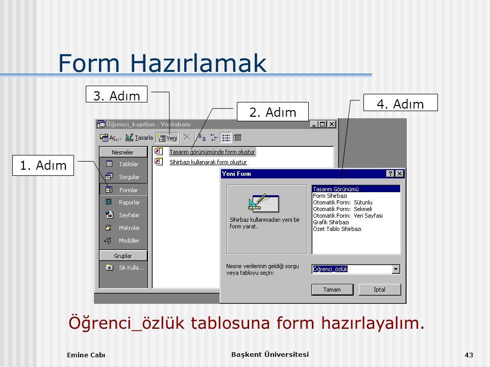 Emine Cabı Başkent Üniversitesi 43 Form Hazırlamak 1.