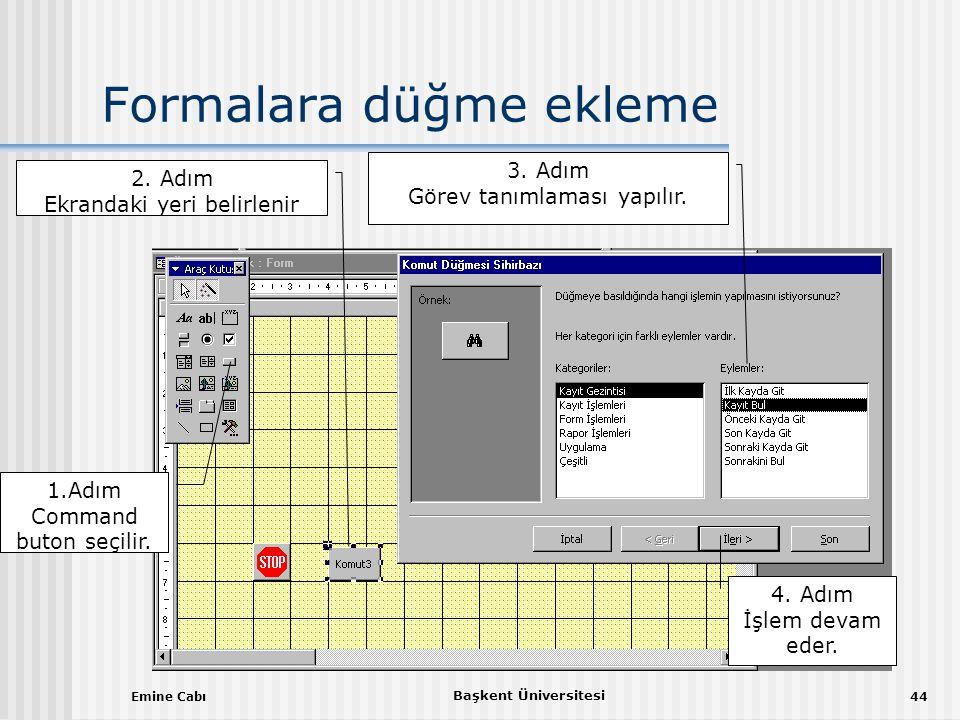 Emine Cabı Başkent Üniversitesi 44 Formalara düğme ekleme 1.Adım Command buton seçilir.