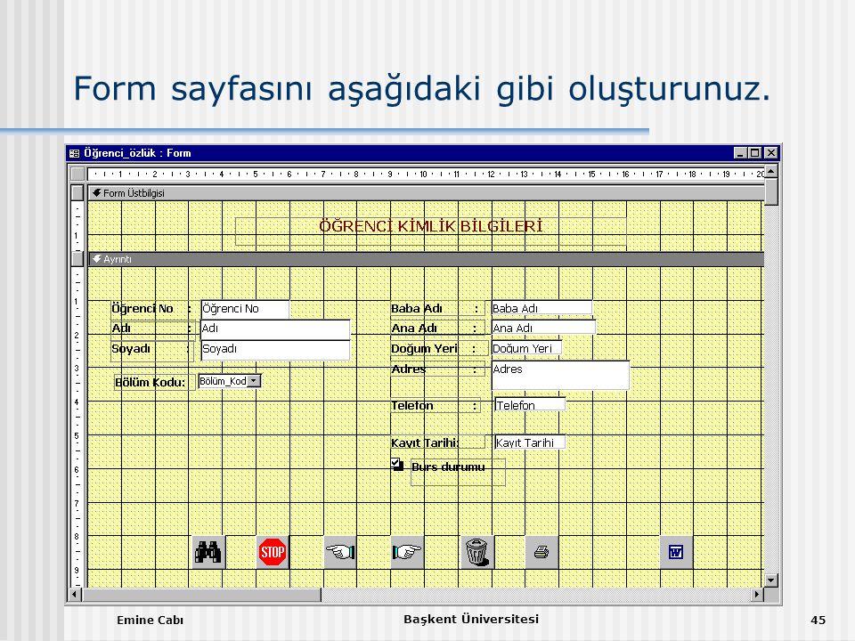 Emine Cabı Başkent Üniversitesi 45 Form sayfasını aşağıdaki gibi oluşturunuz.