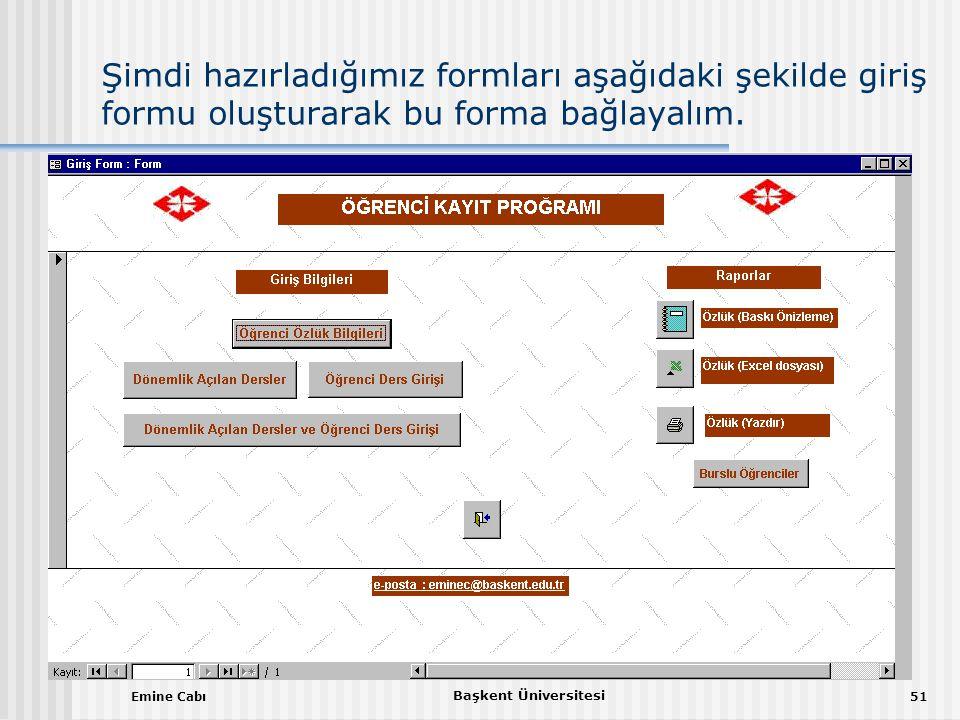Emine Cabı Başkent Üniversitesi 51 Şimdi hazırladığımız formları aşağıdaki şekilde giriş formu oluşturarak bu forma bağlayalım.