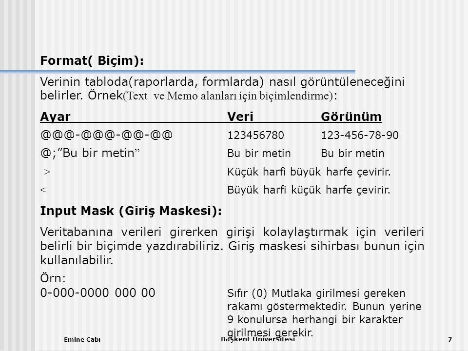 Emine Cabı Başkent Üniversitesi 7 Format( Biçim): Verinin tabloda(raporlarda, formlarda) nasıl görüntüleneceğini belirler.
