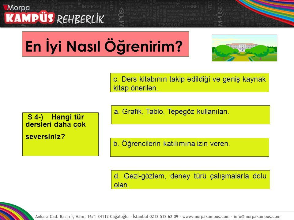 S 4-) Hangi tür dersleri daha çok seversiniz.d. Gezi-gözlem, deney türü çalışmalarla dolu olan.