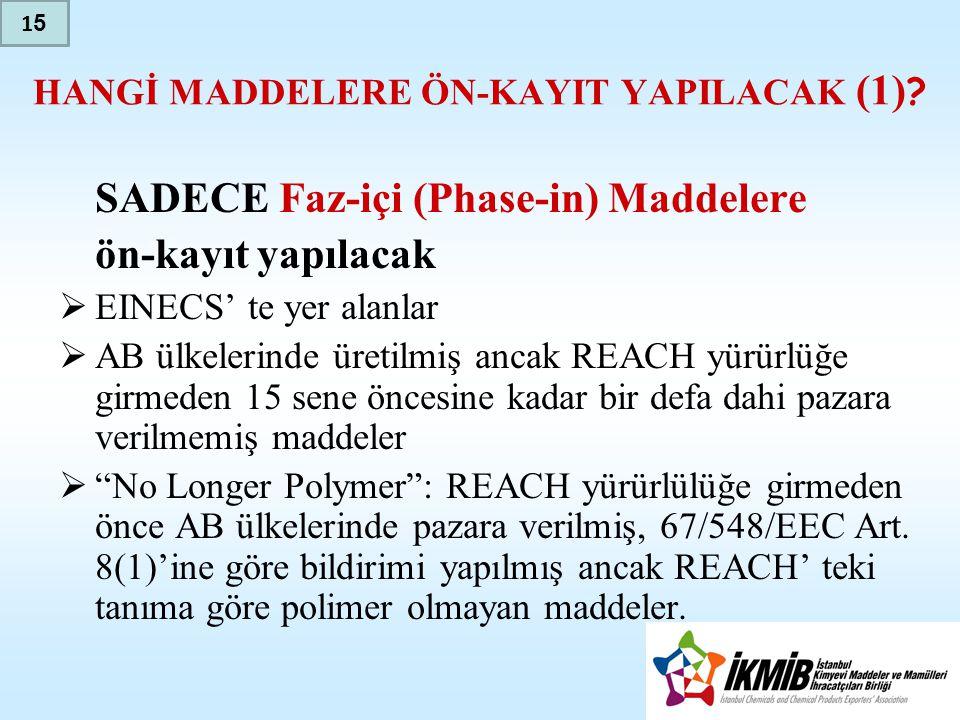 HANGİ MADDELERE ÖN-KAYIT YAPILACAK (1) .