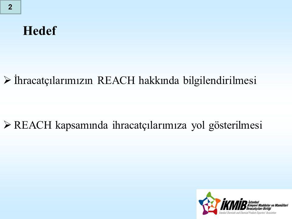 Hedef  İhracatçılarımızın REACH hakkında bilgilendirilmesi  REACH kapsamında ihracatçılarımıza yol gösterilmesi 2