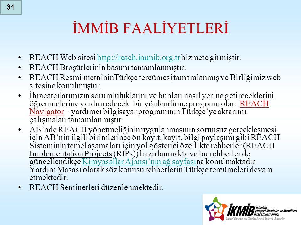 İMMİB FAALİYETLERİ •REACH Web sitesi http://reach.immib.org.tr hizmete girmiştir.http://reach.immib.org.tr •REACH Broşürlerinin basımı tamamlanmıştır.