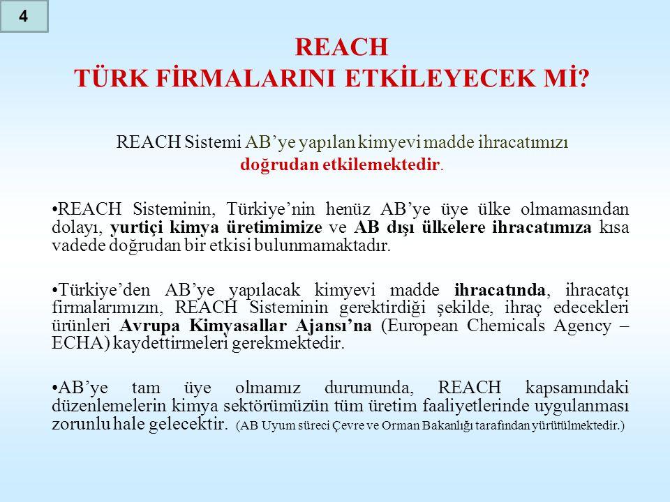 REACH TÜRK FİRMALARINI ETKİLEYECEK Mİ? REACH Sistemi AB'ye yapılan kimyevi madde ihracatımızı doğrudan etkilemektedir. •REACH Sisteminin, Türkiye'nin