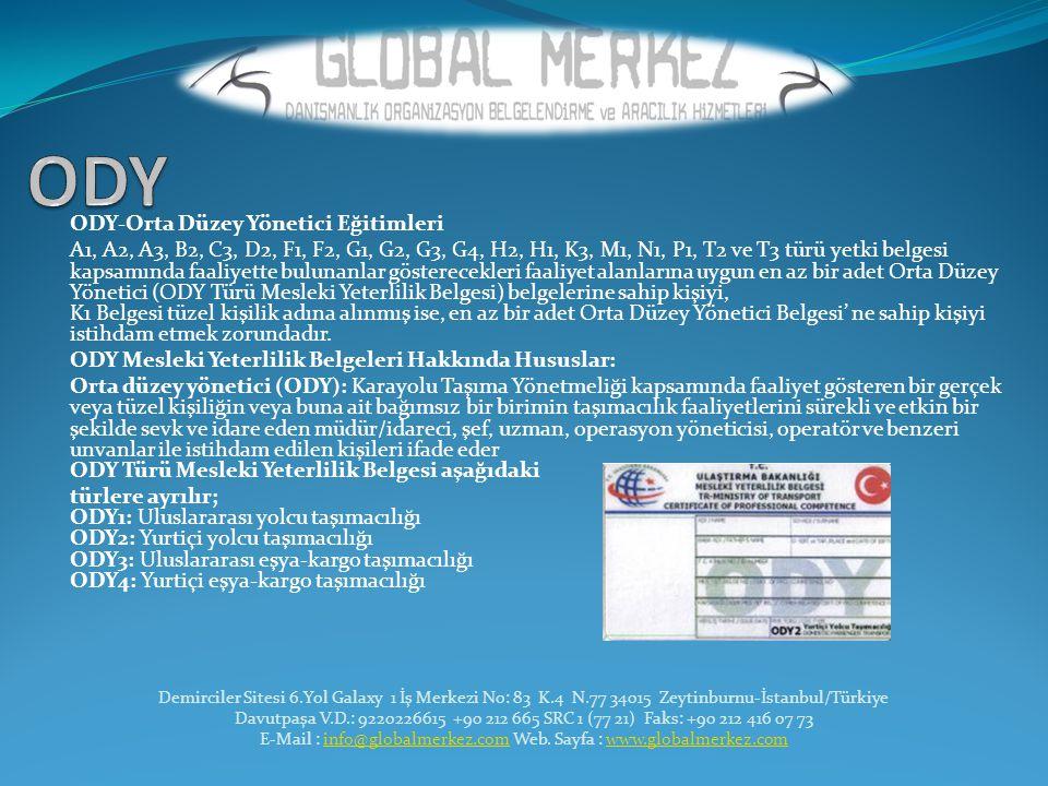 ODY-Orta Düzey Yönetici Eğitimleri A1, A2, A3, B2, C3, D2, F1, F2, G1, G2, G3, G4, H2, H1, K3, M1, N1, P1, T2 ve T3 türü yetki belgesi kapsamında faal