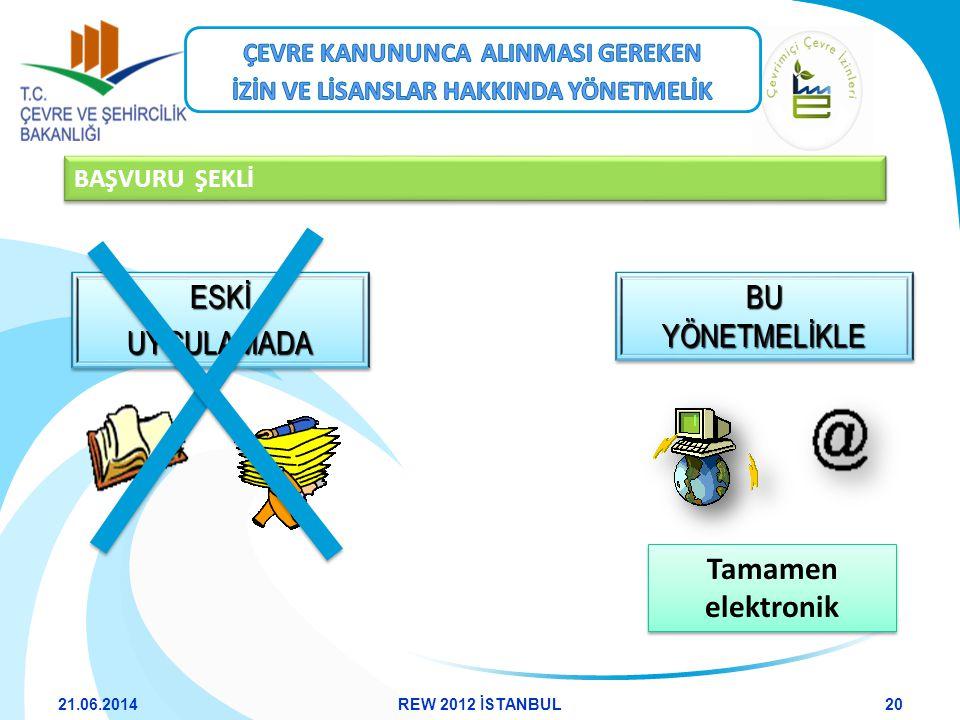 BAŞVURU ŞEKLİ Tamamen elektronik ESKİUYGULAMADAESKİUYGULAMADA BU YÖNETMELİKLE 21.06.201420REW 2012 İSTANBUL
