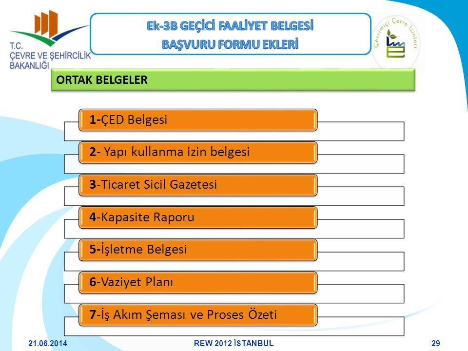ORTAK BELGELER 1-ÇED Belgesi2- Yapı kullanma izin belgesi3-Ticaret Sicil Gazetesi4-Kapasite Raporu5-İşletme Belgesi6-Vaziyet Planı7-İş Akım Şeması ve