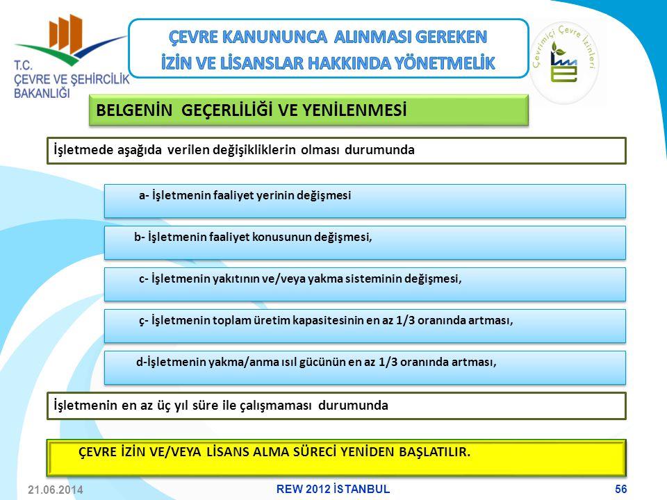 21.06.2014 a- İşletmenin faaliyet yerinin değişmesi c- İşletmenin yakıtının ve/veya yakma sisteminin değişmesi, ç- İşletmenin toplam üretim kapasitesi