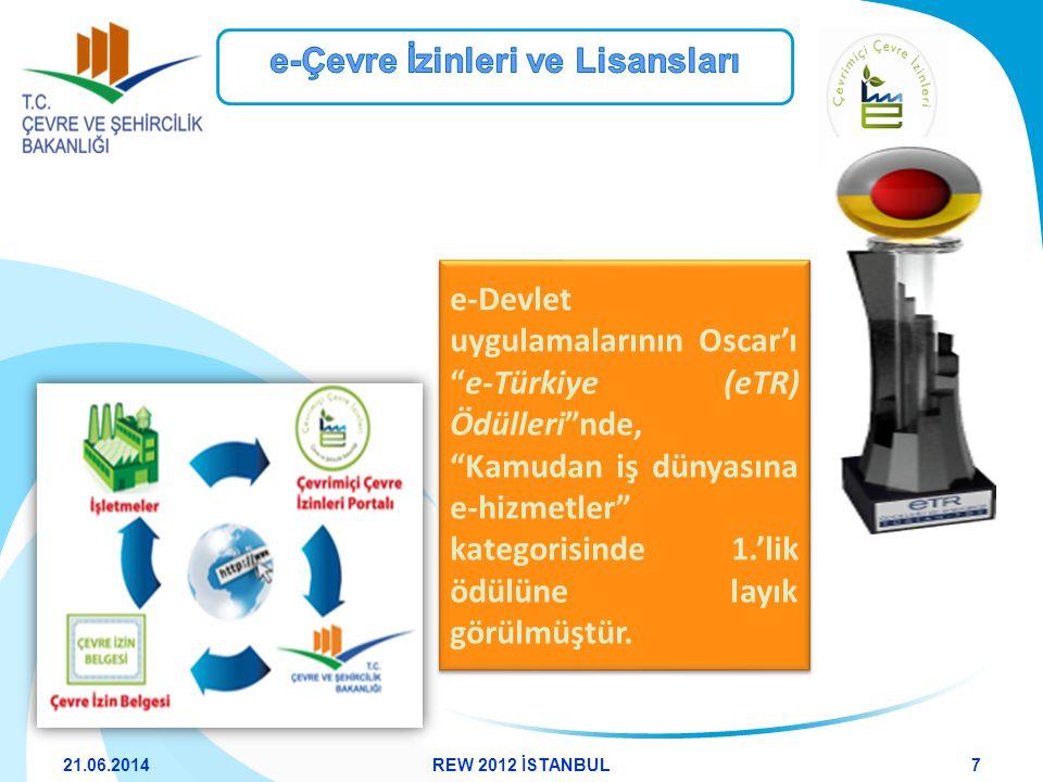 """e-Devlet uygulamalarının Oscar'ı """"e-Türkiye (eTR) Ödülleri""""nde, """"Kamudan iş dünyasına e-hizmetler"""" kategorisinde 1.'lik ödülüne layık görülmüştür. 21."""