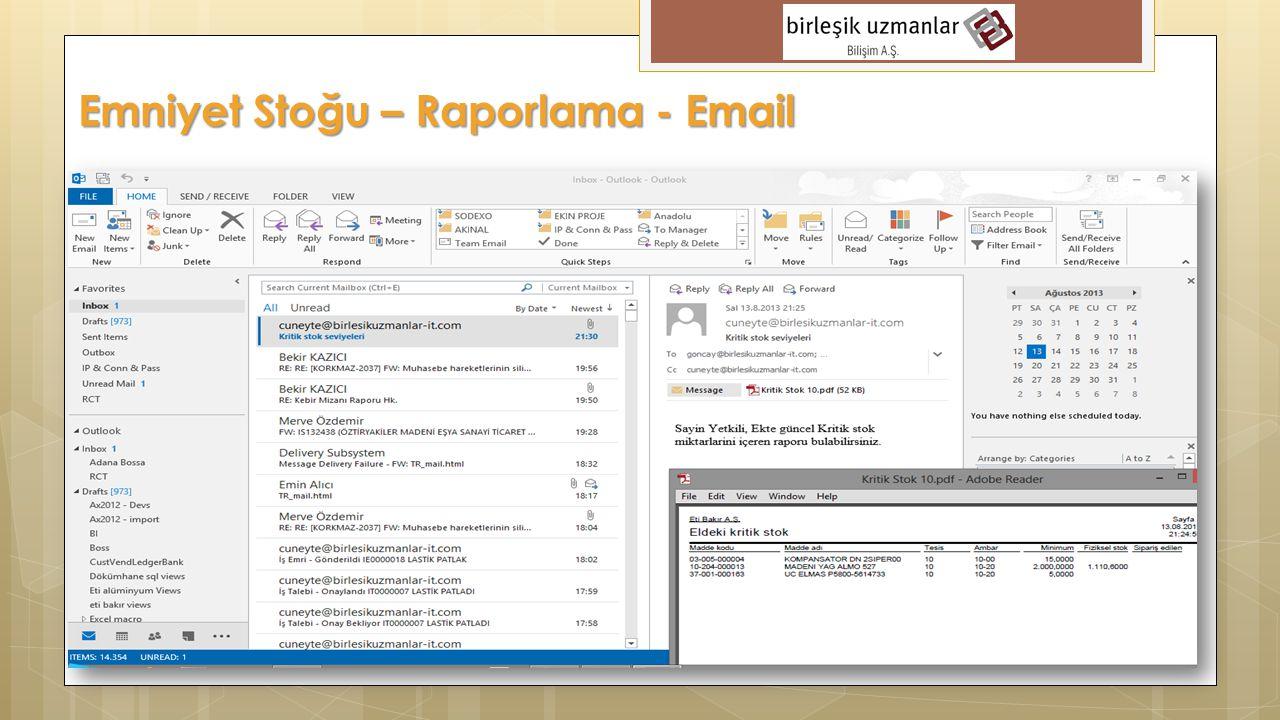 Emniyet Stoğu – Raporlama - Email