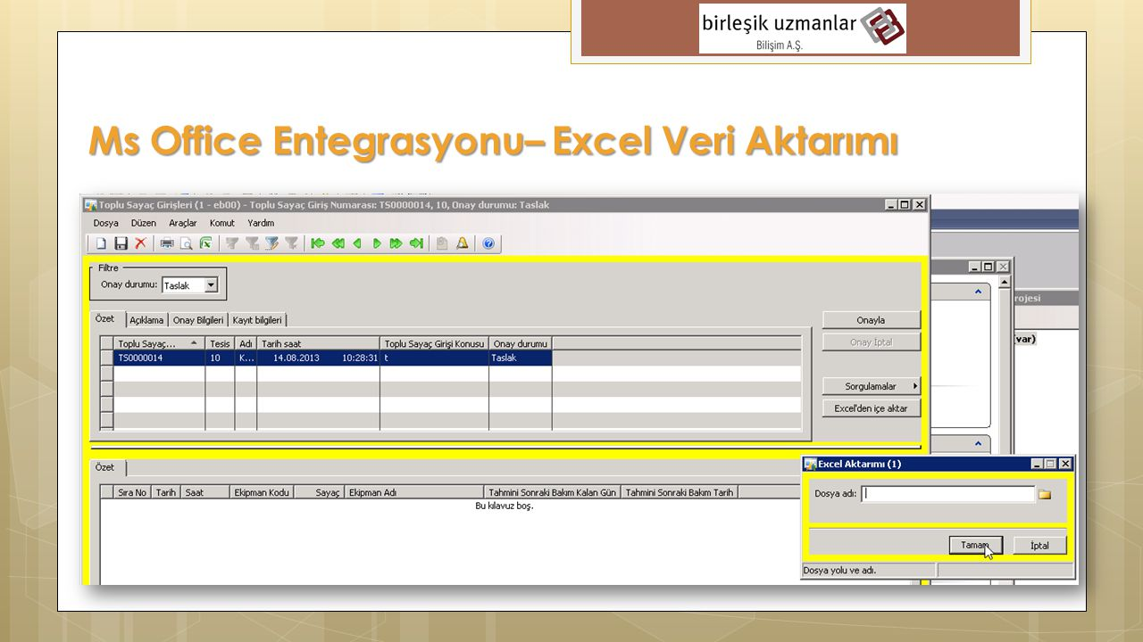 Ms Office Entegrasyonu– Excel Veri Aktarımı