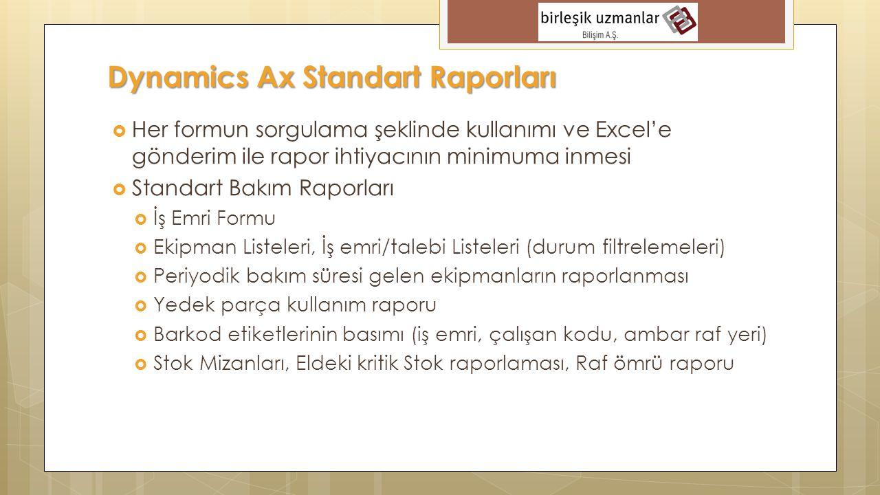  Her formun sorgulama şeklinde kullanımı ve Excel'e gönderim ile rapor ihtiyacının minimuma inmesi  Standart Bakım Raporları  İş Emri Formu  Ekipm