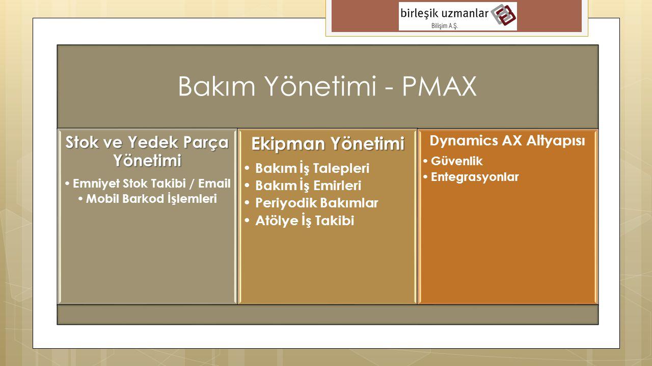 Bakım Yönetimi - PMAX Stok ve Yedek Parça Yönetimi • Emniyet Stok Takibi / Email • Mobil Barkod İşlemleri Ekipman Yönetimi • Bakım İş Talepleri • Bakı