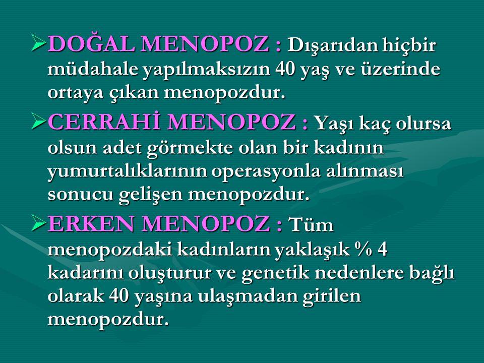  DOĞAL MENOPOZ : Dışarıdan hiçbir müdahale yapılmaksızın 40 yaş ve üzerinde ortaya çıkan menopozdur.  CERRAHİ MENOPOZ : Yaşı kaç olursa olsun adet g