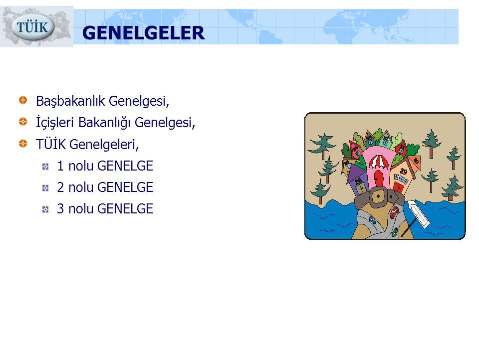 GENELGELER Başbakanlık Genelgesi, İçişleri Bakanlığı Genelgesi, TÜİK Genelgeleri, 1 nolu GENELGE 2 nolu GENELGE 3 nolu GENELGE